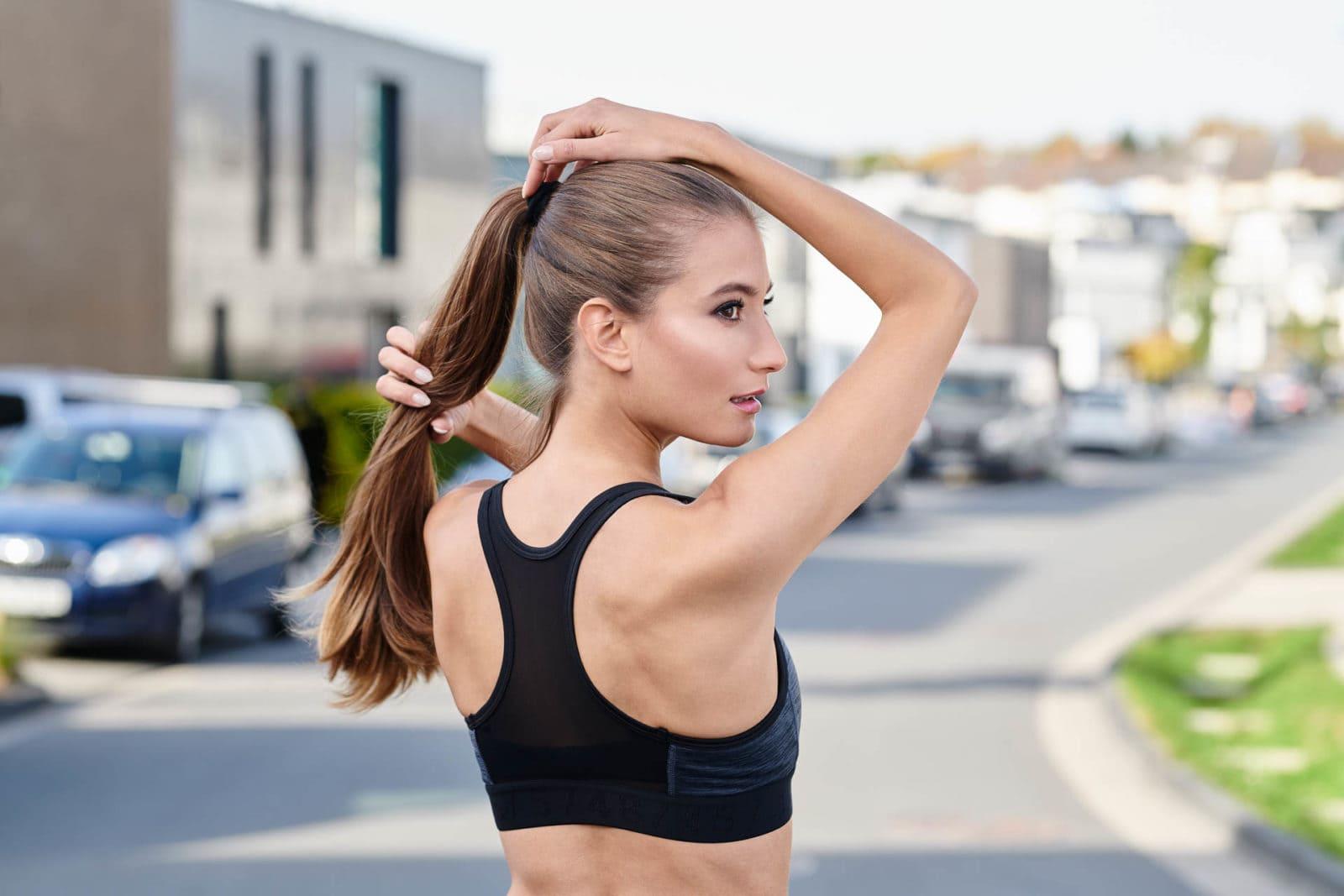 Modelshooting in Dortmund Sport Rücken Porträt